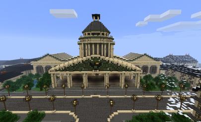 Prédio construído por jogadores dentro do Minecraft Fonte: Wikipédia