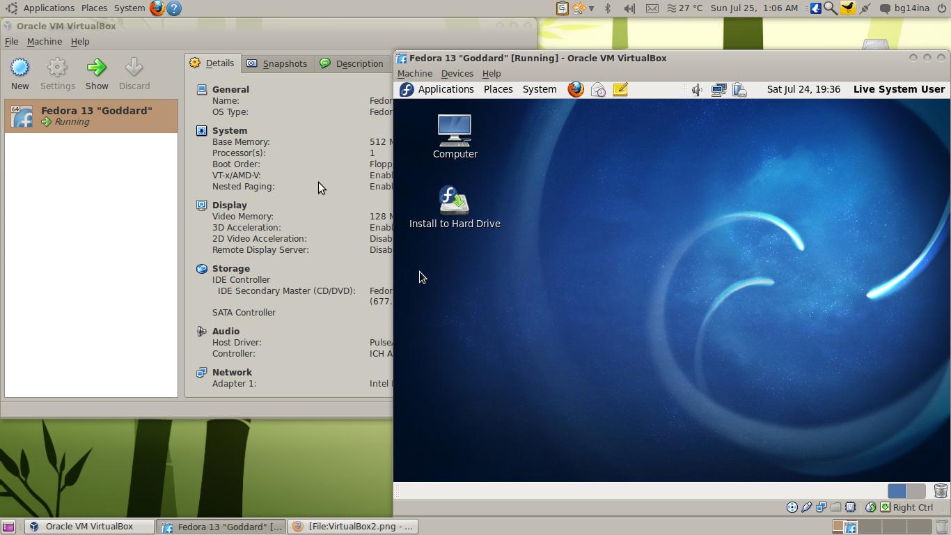 VirtualBox sendo utilizado em um sistema Ubuntu