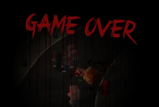 Tela Game Over Jogo ApocalipToon