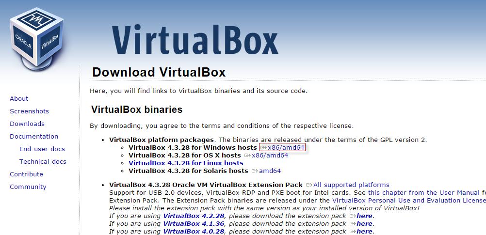 VirtualBox - Baixando