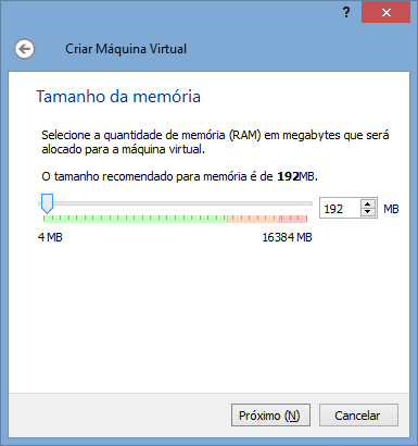 VirtualBox - Nova VM 2 - Memória