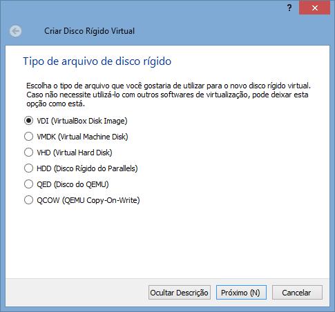 VirtualBox - Nova VM 4 - tipo de HD