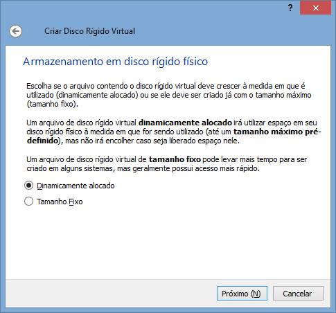 VirtualBox - Nova VM 5 - alocação de HD