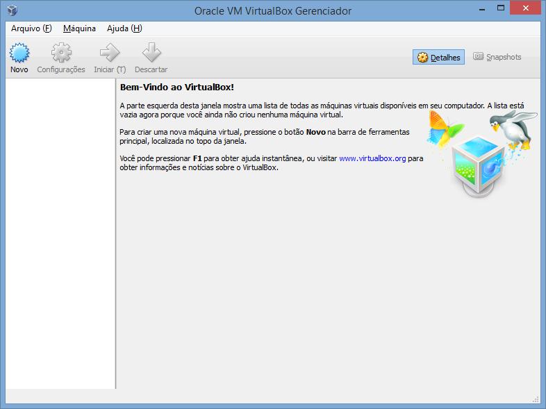 VirtualBox - tela principal