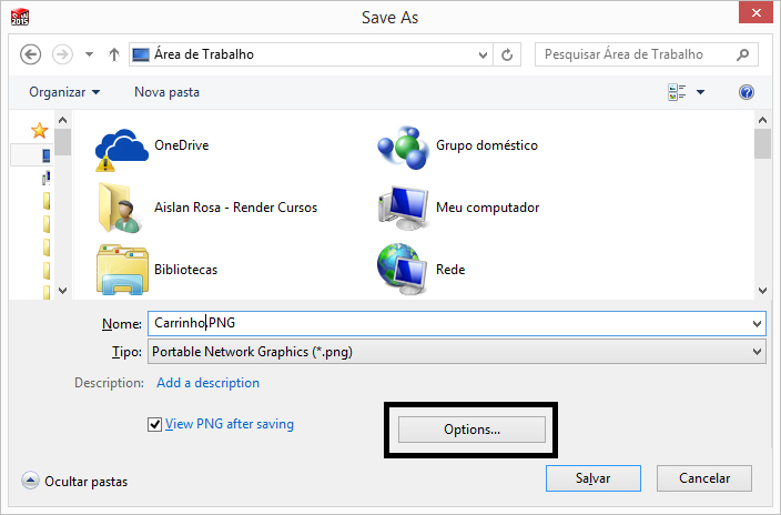 Salvar Como PNG - Options