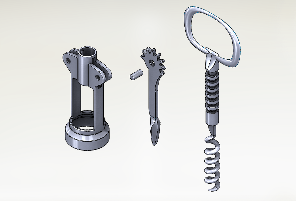 SolidWorks Exemplos Práticos - Saca-Rolhas de alavanca dupla