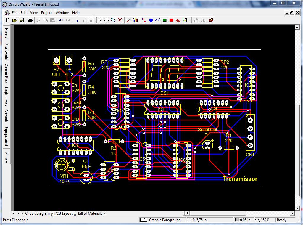 PCI elaborada no Circuit Wizard