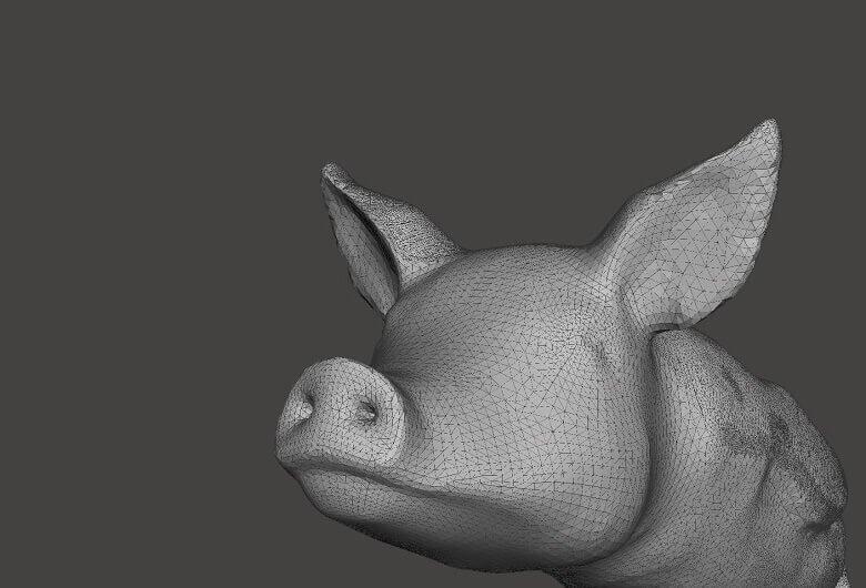 A malha trinaglar fina está codificando aproximadamente a geometria da superfície deste modelo 3D (fonte: i.materialize)