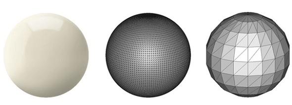 A superfície esférica perfeita à esquerda é aproximada por mosaicos. A figura à direita usa grandes triângulos, resultando em um modelo grosso. A figura no centro usa triângulos menores e alcança uma aproximação mais suave (fonte: i.materialize)