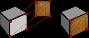 Ilustração de como o mapeamento de textura é usado para codificar informações de cor e textura de um lado de um cubo