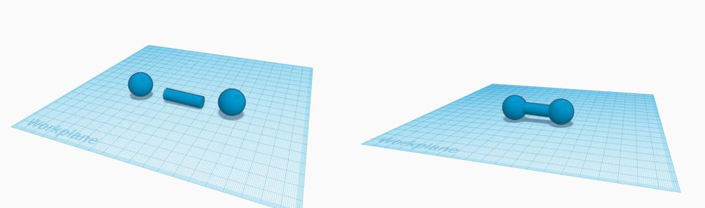 Geometria sólida construtiva em ação durante a construção de um haltere em Tinkercad