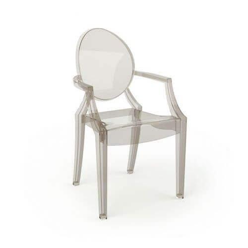Um modelo 3D transparente de uma cadeira. A transparência é codificada como uma propriedade de cada faceta individual.