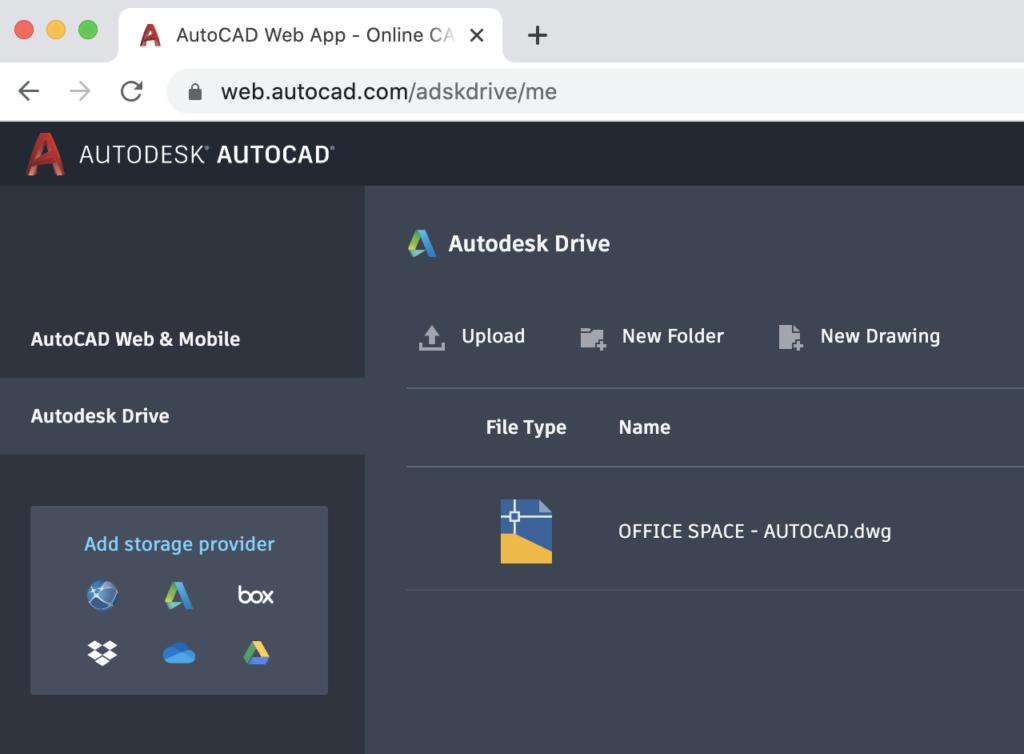 Integração com Autodesk Drive AutoCAD Web App