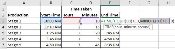 Exemplo de cálculo de tempo
