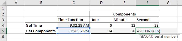 Funções para obter componentes de tempo