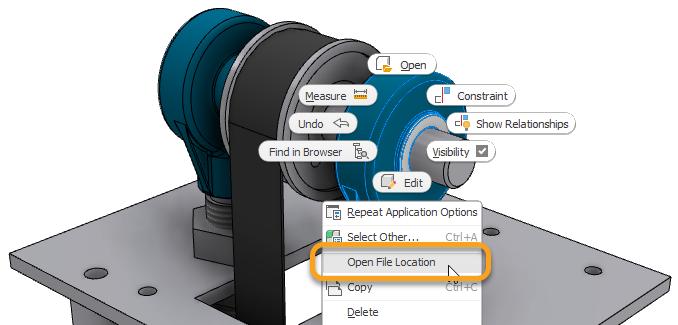Autodesk Inventor 2022 Abrir localização do arquivo