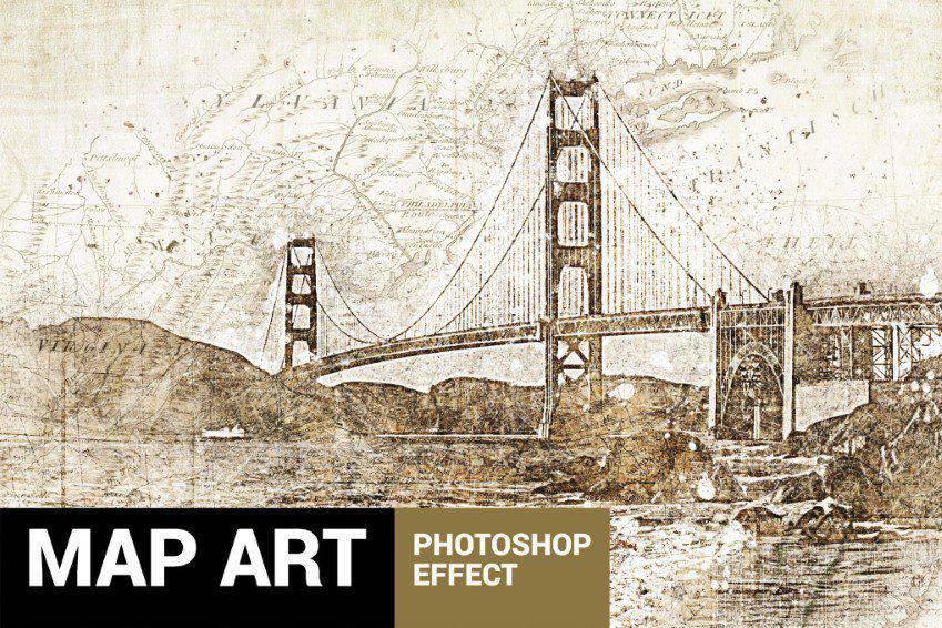 Piratum Map Art Photoshop Action