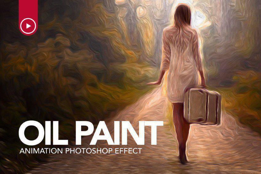 Ação de Photoshop de animação de pintura a óleo