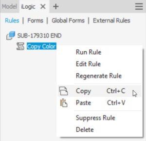 Atualização do Autodesk Inventor copiar regras do iLogic