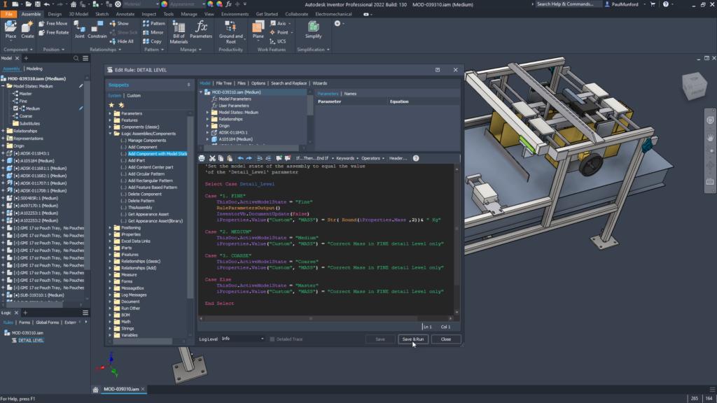 Tema escuro para o editor iLogic no Autodesk Inventor 2022
